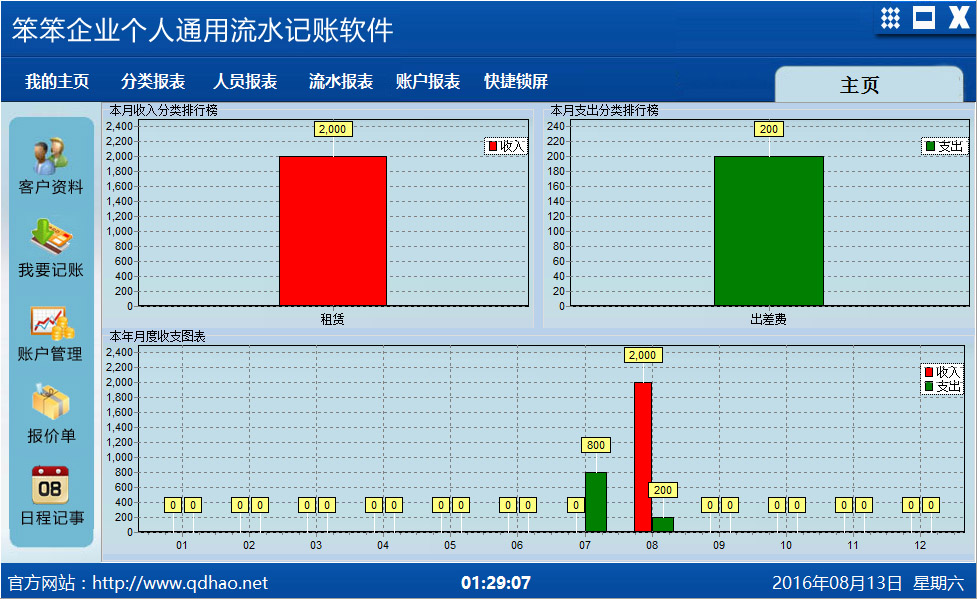 笨笨企业个人通用流水记账软件 中文绿色版下载