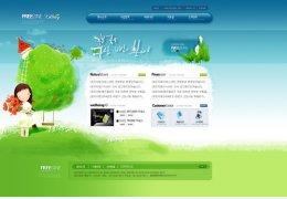 绿色卡通背景商业网站模板